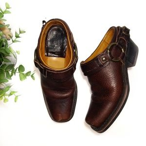 Frye Harness Buckle Boot Mules Leather